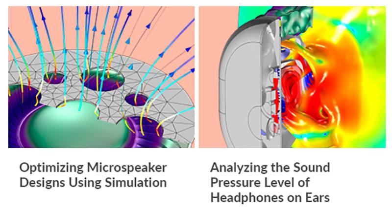 COMSOL analiza el diseño de los dispositivos de audio para asegurar una buena calidad de sonido y garantizar la seguridad del usuario.