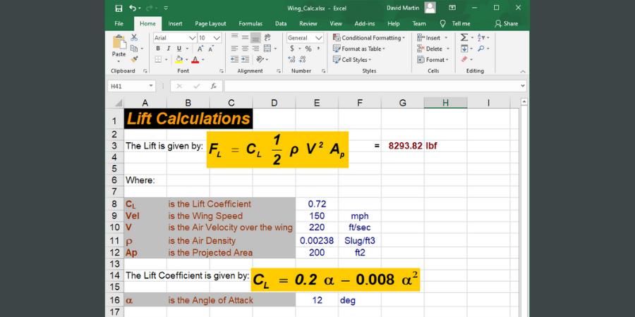 Hoja de cálculo tradicional que utiliza imágenes pegadas para cálculos de ingeniería.