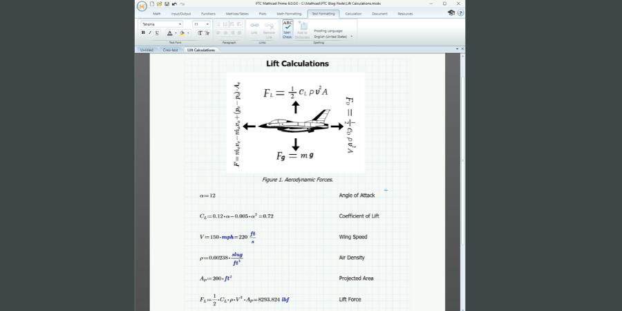 Hoja de trabajo de PTC Mathcad. La imagen incrustada es utilizada para visualización, mientras que los cálculos activos aparecen a continuación.